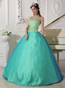 Simple Style Apple Green Beaded Sweetheart Quinceanera Dress