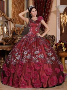 Grammy Award Wonderful V-neck Appliqued Beaded Wine Red Sweet 15 Dress for 2014