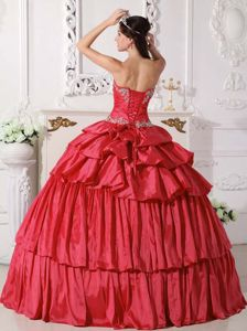 Attractive Pick Ups Appliqued Red Ball Gown Dress for Sweet 16