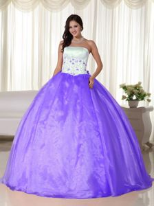 Embroidery Ball Gown Light Purple and White Sweet 16 Dress ...