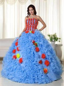 International Movie Festival Colorful Strapless Floor-length Dress for Quince with Flowers