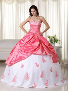 Watermelon and White Quinceanera Dresses with Appliques