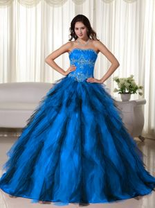 2014 Spring Brand New Appliqued Strapless Blue Sweet 15/16 Birthday Dress for survivor