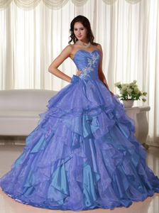 Sweetheart Appliqued Ruffled Medium Slate Blue Sweet 15 Dress