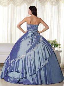 Unique Ball Gown Appliqued Steel Blue Quinces Dresses on Sale