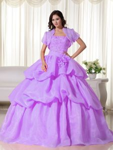 Appliqued Lilac Sweet 15 Dresses with Pick Ups and Flowers