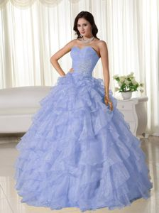 Ball Gown Sweetheart Lilac Quinceanera Party Dress with Ruffles