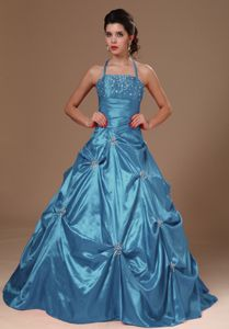 Halter Top A-line Beaded Teal Sweet Sixteen Dress with Pick Ups