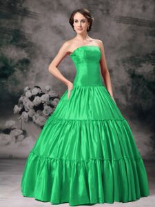 Strapless Floor-length Spring Green Sweet 15/16 Birthday Dress
