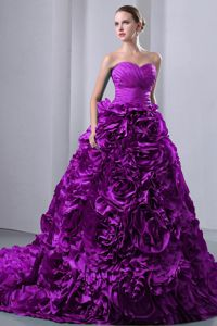 Sweetheart Brush Train Rolling Flowers Purple Quinceanera Dress