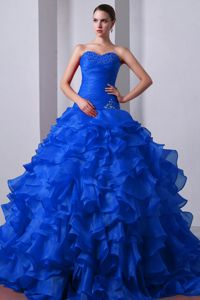 Special Customized Sweetheart Brush Train Blue Sweet 15 Dress with Ruffles Beading