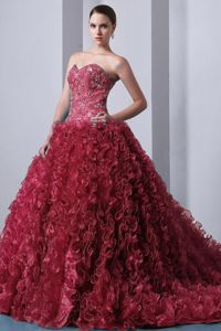 Expensive Brush Train Organza Beaded Ruffled Dress for Quince