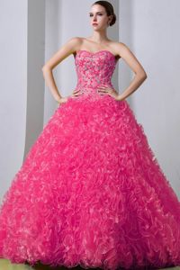 Brush Train Beaded Ruffled Hot Pink Quinceanera Party Dress