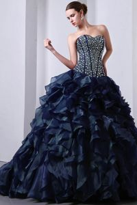 2012 Popular Rhinestones Ruffled Navy Blue Sweet 16 Dress