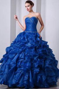 Hot Sale Ruffled Beaded Blue Quinceanera Dress for 2014 Spring