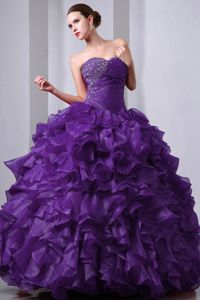 Perfect Organza Princess Ruffled Beaded Purple Quinces Dress