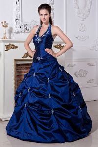 Fast Shipping Appliqued Halter Top Royal Blue Sweet 15 Dresses