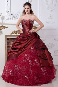 Ball Gown Strapless Embroidery Wine Red Quinceanera Dress