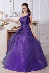 Corset Organza one Shoulder Purple Quinceanera Gowns Dresses