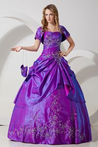 Ball Gown Strapless Embroidery Purple Dresses for a Quince