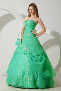 Medium Spring Green Quinces Dress with Embroidery under 200