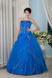 Popular Princess Strapless Blue Dress for Quince with Beading