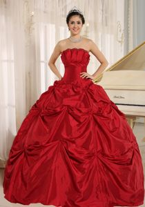 Ball Gown Strapless Wine Red Quinceaneras Dress with Pick Ups