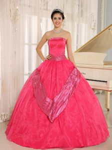 Plus Size Strapless Beaded Coral Red Dress for Quinceanera