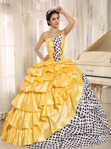 Taffeta Pick Ups Multi-color Dress for Sweet 15 with Polka Dot