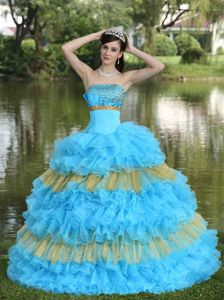 The Best Strapless Rhinestones Ruffled Colorful Quinceanera Dress for Paris Fashion Week
