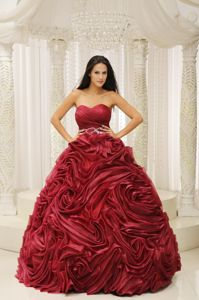 Eye Catching Rolling Flowers Wine Red Dresses for Quinceaneras
