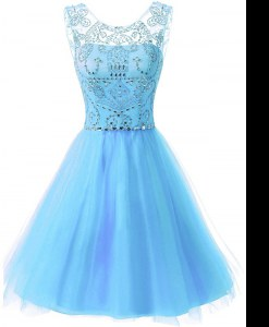 Simple Scoop Sleeveless Chiffon Knee Length Zipper Mother of Groom Dress in Baby Blue with Beading