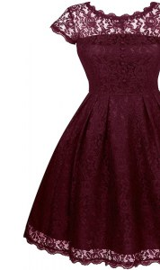 Burgundy Organza Zipper Scalloped Short Sleeves Tea Length Mother of Bride Dresses Lace