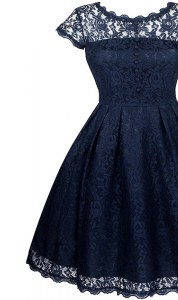 Navy Blue Zipper Scalloped Lace Mother of the Bride Dress Organza Short Sleeves