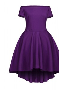 Tea Length Side Zipper Mother of the Bride Dress Purple for Prom and Party with Ruching