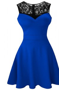 Scoop Lace Mother of Groom Dress Royal Blue Zipper Sleeveless Tea Length