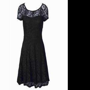Low Price Scoop Short Sleeves Tea Length Lace Side Zipper Mother of the Bride Dress with Black