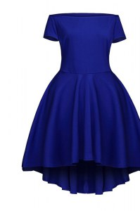 Attractive Tea Length Side Zipper Mother of Groom Dress Blue for Prom and Party with Ruching