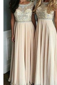 Traditional Champagne Chiffon Side Zipper Bateau Cap Sleeves Floor Length Mother of Bride Dresses Beading