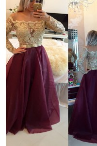 Scoop Long Sleeves Mother of the Bride Dress Floor Length Beading and Appliques Burgundy Organza