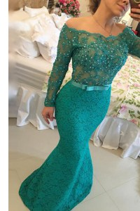Admirable Mermaid Off the Shoulder Turquoise Lace Side Zipper Mother of Bride Dresses Long Sleeves Floor Length Beading