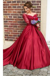 Extravagant Burgundy Ball Gowns Satin Off The Shoulder Long Sleeves Appliques With Train Zipper Mother Dresses Sweep Train