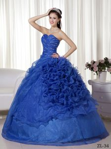 Beaded Sapphire Blue Dress for Quince with Rolling Flowers