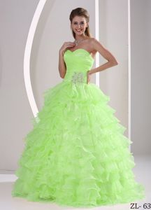 Sweetheart Appliqued Beaded Sweet 15 Dresses Apple Green