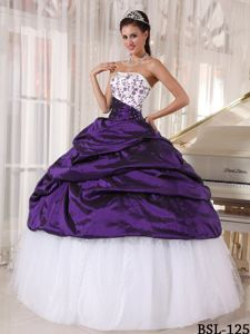 Classy Embroidery White and Purple Quinceanera Party Dress