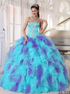 Appliqued Ruffled Colorful Sweet Sixteen Dresses in Fashion 2013