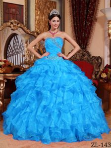 Nifty Beaded Ruffled Aqua Blue Quinceanera Dresses for Winter