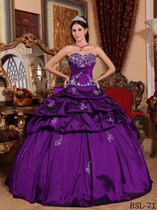 Appliqued Taffeta Eggplant Purple Sweet Sixteen Quinceanera Dress