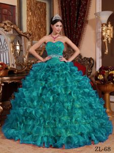 Beaded and Ruched Teal Ball Gown Sweet 15 Dresses with Ruffles