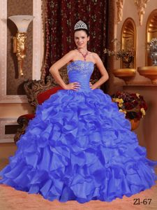 Blue Organza Quinceanera Gown Dresses with Appliques and Ruffles